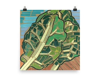 Collards Mosaic - Beautiful Archival Cotton Rag Fine Art Giclée Print Supporting the Nonprofit Fresh Artists