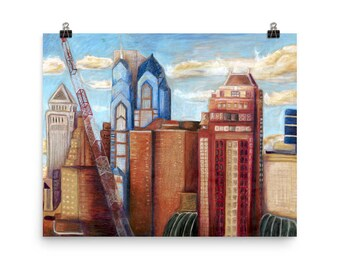 City Cranes - Beautiful Archival Cotton Rag Fine Art Giclée Print Supporting the Nonprofit Fresh Artists