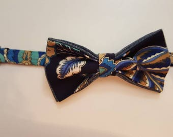 Blue or Brown Floral Bow-tie and Pocket Square Set
