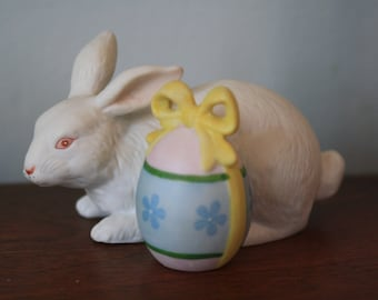Rare Vintage Schmid White Easter Bunny with Egg