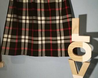 Scottish bell skirt in black, white and red tartan