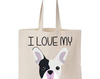 I Love My Frenchie French Bulldog Canvas Tote Bag