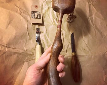 """12"""" Walnut serving spoon. Hand carved."""
