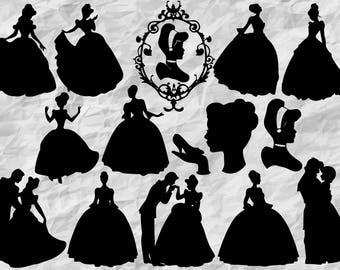 14 cinderella silhouettes cinderella svg cut files cinderella cliparts cinderella printable vectors