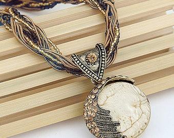 Handmade Antique Retro Dream Half Moon Necklace Vintage Costume Statement Jewellery