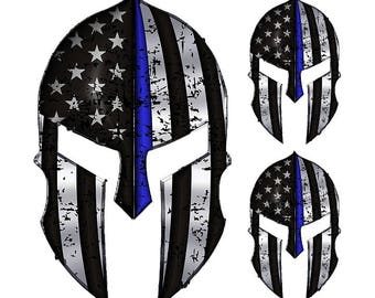 "Spartan Helmet ""Thin Blue Line"" sticker Police American Flag Decal Sticker Graphic yeti cup laptop decals set of three"