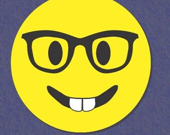 Nerd Emoji Car Magnet, Emoji Magnet, Round Car Magnet, Emoji Car Magnet, Glasses Emoji, Smiley Face Emoji