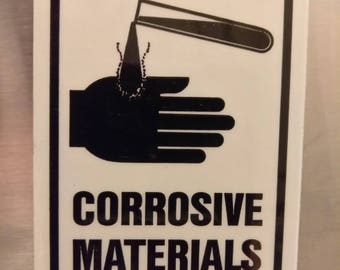 "Fun fridge magnet, NOS, OSHA ""corrosive materials"" warning sticker"