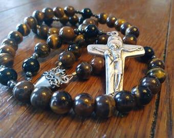 Catholic Rosary, Natural Tiger Eye Bead Rosary, 5 Decade Rosary, Semi-Precious, Gemstone, Heirloom Quality, Flex Wire