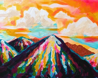Sunrise under the Mountains // Acrylic Painting on Canvas (Art)