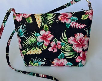 Tropical Hibiscus print handbag
