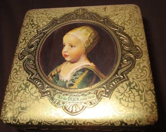 Holland Biscuit Tin Master Dutch Painters square Litho Scene Goldtone Ornate collectible biscuit tin cookie storage home decor Renaissance