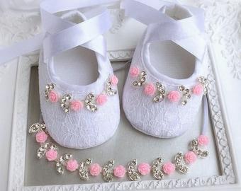 Baby Girl White Lace Christening Baptism Shoes Pink Roses Flowers Rhinestone Headband Set