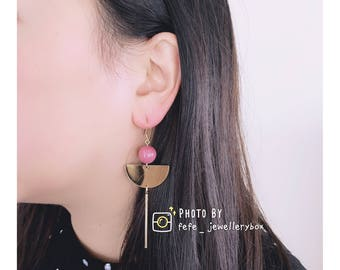 Hand Made: Red Bean Red, Metal Extended Fan Shaped Earrings