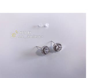 Simple Cystal Earrings With Sliver
