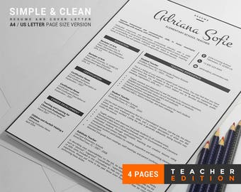 Resume Template for Teacher and Professionals / CV Template + Cover Letter + Reference Letter, 4 Page Creative Resume Design