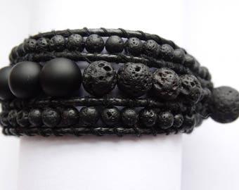 Men's bracelet made of shungite and lava