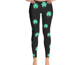 St. Patricks Day Clover Print Leggings - Saint Patrick Leggings - Clover leaf - Yoga Leggings - Patterned Leggings - Print Leggings - Irish