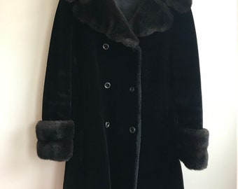 1970s Vintage Black And Brown Faux Fur Peacoat