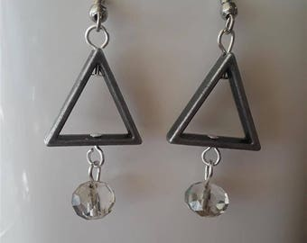 Triangle Earrings with Dangling Clear Rondelle