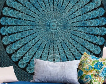 Boho Queen Size Mandala Tapestry - Blue Peacock