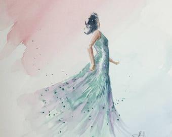 Mystery Woman Original Watercolor