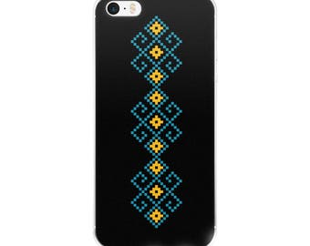 Traditional Yellow Blue and Black Minimalist Design Clear Case for iPhone X, 8/8 Plus, 7/7 Plus, 6/6s, 6 Plus/6s Plus, 5/5s/SE perfect gift