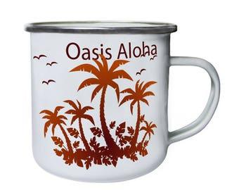 Oasis Aloha Palm Trees Retro,Tin, Enamel 10oz Mug p136e