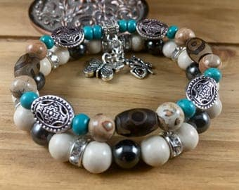Stretch boho women bracelet set, brown, black, cream, turquoise, silver tone