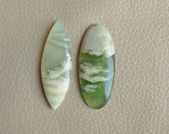 Beautiful Natural Serpentine Fancy Shape 02 Piece Gemstone Cabochon, Serpentine Stone Weight 89 Carat and Size 50x24x6, 51x18x7 MM Approx.