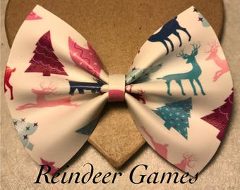CLEARANCE**  Reindeer Games- Faux Leather Bow