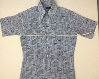 Vintage 60's/70's JCPENNY'S No IRON Polyester Short Sleeve Button Down Size M