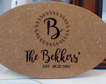 Personalized cork trivet