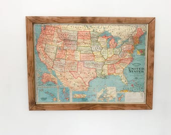 framed map of united states on foam board with pins - World Map Framed