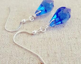 Blue Earrings • Blue Dangle Earrings • Blue Drop Earrings • Blue Glass Earrings • Blue Teardrop Earrings • Blue Silver  Earrings