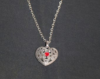 Silver heart pendant with silver chain
