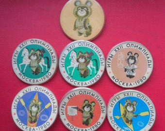 "Vintage Soviet Badges Olympic Bear ""Misha"". Set of 7 USSR Olympic Bear Misha Badges"