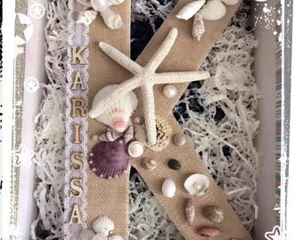 Custom letter K sea shell DIY
