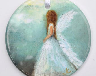 Angel Ornament ~ ANGEL of HOPE;  Christmas Ornament, Unique Gift, Gifts for Her, stocking stuffer, Angel Art.