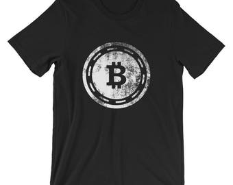 Bitcoin Shirt Vintage Distressed BTC Logo Cryptocurrency Unisex T-Shirt