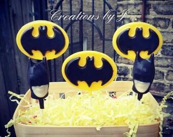 1 dozen Batman or Batgirl chocolate lollipops