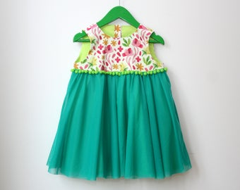 Floral girls dress US size 2T, Ready to ship, green pom pom waist, watercolor floral design, 2 year old girls outfit, green skirt and lining