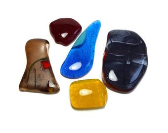 Art Glass Designer Flat Cabochons lot 5 no whole cabochons wire wrapping fused Multi color Fused Art Glass Cabochon