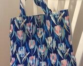 Designer Hand Made Tote Bag Protea Design Blue - Large