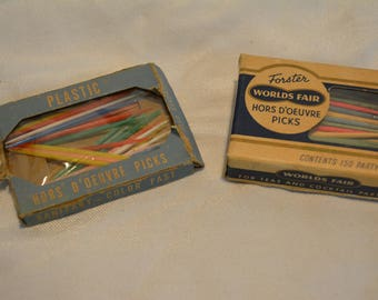 2 Vintage 1950s Boxes of Hors D'oeuvre Picks