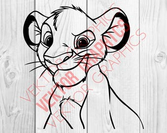 Lion King Simba Graphics SVG dxf eps png cdr ai pdf Vector art Clipart instant download Digital Cut Print files