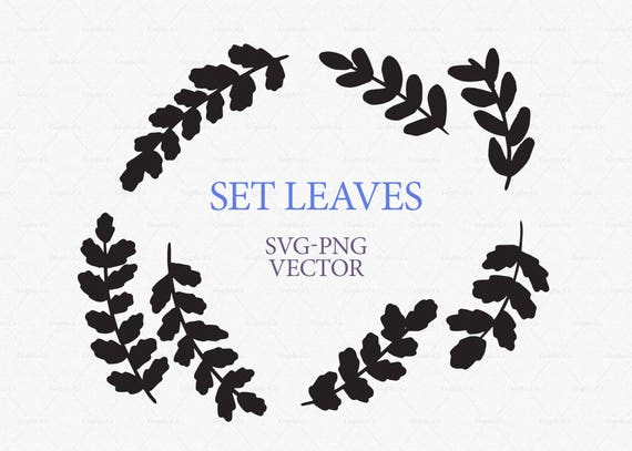 leaves clipart  set hand drawn herbs clipart  leaves etsy clip art easter etsy clipart masquerade silver