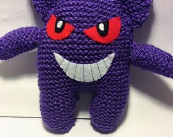 Knitted Gengar plushie