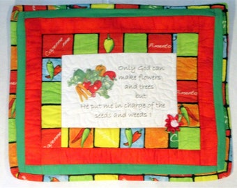 Quilted wall decor, primary colors, perfect for the gardner, 18.5x15, valentines gift, flower lover,