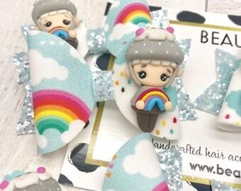 Rainbows and showers spring fabric & glitter Medium hair bow clip headband hair accessories nylon hair piece artisan